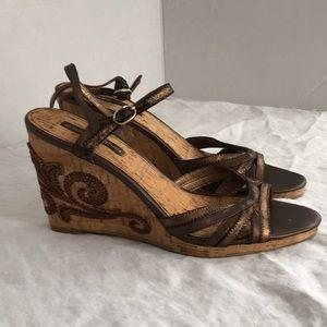 Bandolino Cork Wedge heel Sandals like new 8.5
